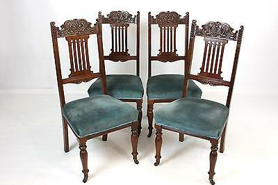 Set of 4 Four Antique Walnut Dining Chairs with Carved Backs