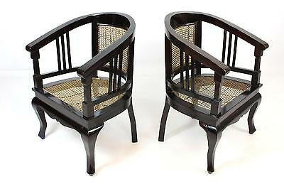 Antique 20thC Edwardian Ebonised Bergere Tub Chair - Rattan/Cane