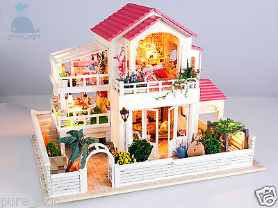 DIY Handcraft Miniature Project Wooden Dolls House My Pink Little Villa