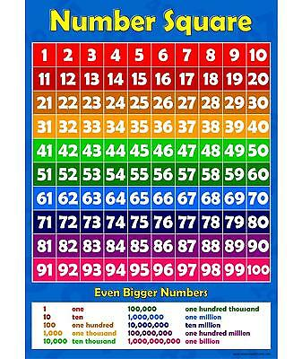 A3 Number Square 1 to 100 Childrens Wall Chart  Learning To Count Kids Poster