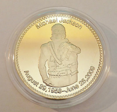 "2009 1 troy Oz ""MICHAEL JACKSON"" Comm Coin Finished in 999 24k Fine Gold"