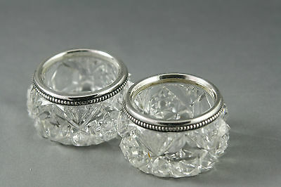 2 Vintage Cut Crystal Open Salts Sterling Silver Rims Thumbprint Star Design