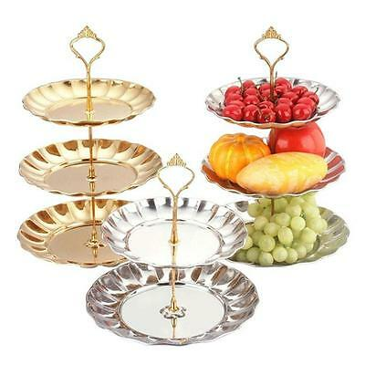 Hot !2/3 Tier Stainless steel Round Cupcake Stand Wedding Birthday Cake Display