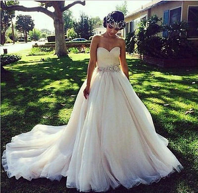 White Ivory Sweetheart Wedding Dress Ball Gown Formal Bridal Gowns Custom Size