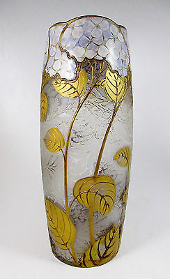 "MONT JOYE Etched Cameo & Enameled Hydrangea Art Glass Vase Signed ca.1900 12""T"