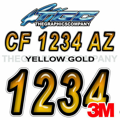 Yellow Gold Custom Boat Registration Numbers Decals Vinyl Lettering Stickers