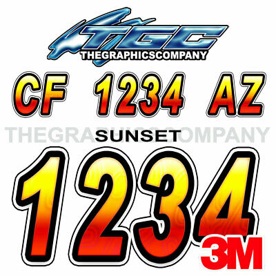 Sunset Custom Boat Registration Numbers Decals Vinyl Lettering Stickers USCG