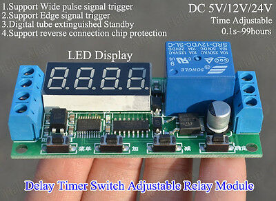 Digital LED Display Delay Timer Switch Adjustable Time Relay Module DC5V 12V 24V