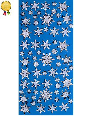 WINTER SNOWFLAKES Peel Off Stickers WHITE - Gold or Silver Outline Card Making