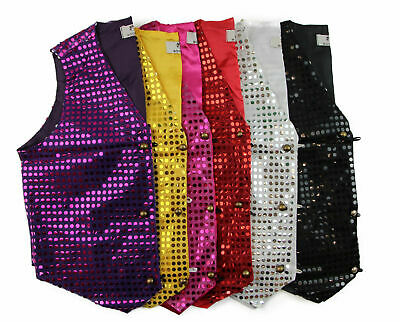 Sequin Vest Waistcoat Tie Boys Girls Dance Costume Black Gold Silver Purple Red