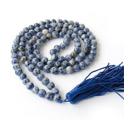 Blue Point Agate Stone Mala (108 Beads) Prayer beads necklace