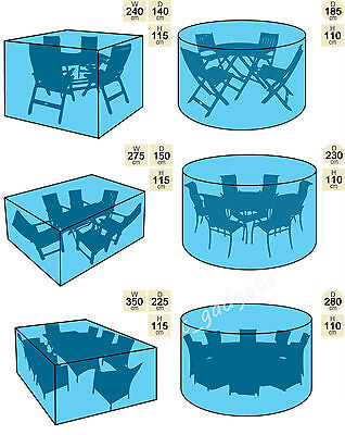 4/6/8 Seater Garden Patio Table Chair Cover Waterproof Outdoor Furniture Shelter