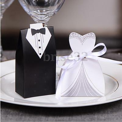 100PCS DRESS & TUXEDO Bride and Groom Ribbon Candy Box Party Wedding Favor New