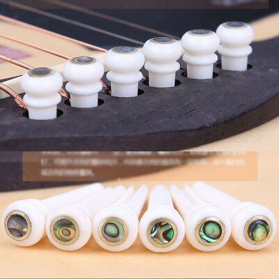 6x Real Bone Material Acoustic Guitar Bridge Pins With Pearl Shell Dot