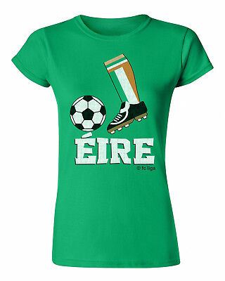 Ladies Football Boot T-Shirt EIRE IRELAND Supporter Top