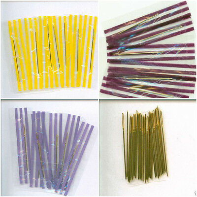 Gold Plated Needles -Individually Wrapped & Loose-Size 22,24,26,28 Cross Stitch