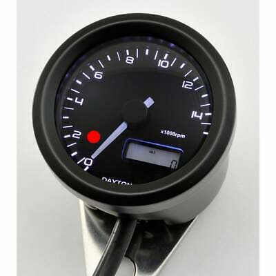 Daytona 48mm Motorcycle 15k Rev Counter RPM Gauge & Shift Light Black Metal Case