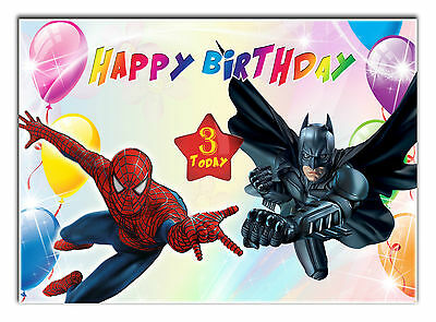 c164; Large Personalised Birthday card; made for any name; BATMAN & SPIDERMAN