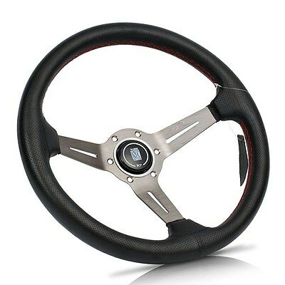 "NARDI 14"" Black Leather Grey Spoke Red Stitch Deep Dished Steering Wheel w Horn"