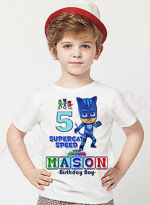 PJ Masks Birthday Shirt Personalized  Name and Age Personalized Catboy Shirt