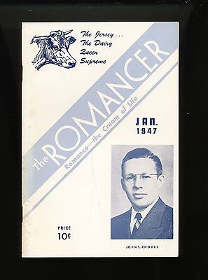 1947  booklet magazine ~ John Rhodes ~ Jersey dairy  cattle cow ~ The Romancer