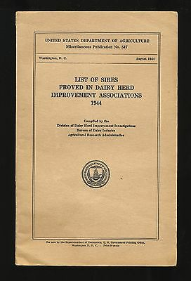1944 booklet ~ USDA ~ List of Sires Proved in Dairy Herds ~ publication no. 547