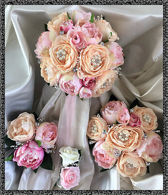 Wedding Flowers peach/pink peonies Bouquet, Bride/Bridesmaids with Jewels