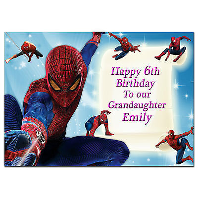 c211; Large Personalised Birthday card; Custom made for any name; Spiderman Pink
