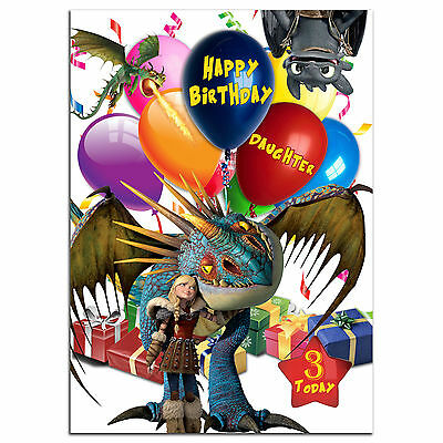 b217; Large Personalised Birthday card; for any name; How to Train Your Dragon