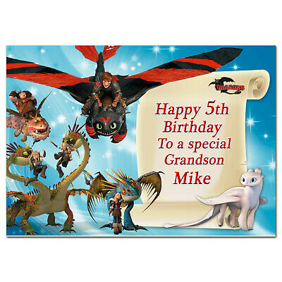 b220; Large Personalised Birthday card; With any name; How to Train Your Dragon