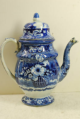Historical Staffordshire blue & white  coffee pot, close but mismatched lid,1830
