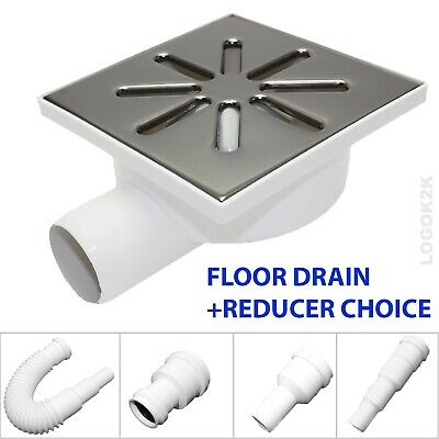 FLOOR DRAIN Bathroom Wet Room Shower With TRAP 150 x 150mm /Ø 50 + REDUCER 40 32