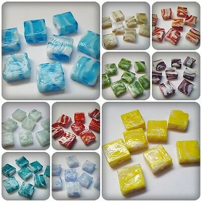 8 x Glass Lampwork Beads - Square - 12mm [Various Colours Available]