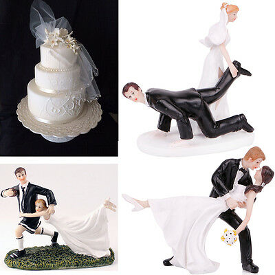Funny Bride & Groom Figurine Romantic Wedding Cake Toppers Top Cake Decorations