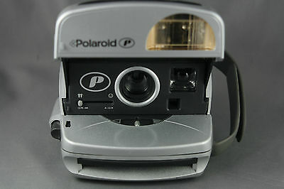 Vtg 90's Polaroid Silver P Instant Camera Handgrip Strap Built in Flash Working