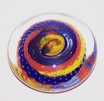 Beautiful ART GLASS Blue Yellow Orange Bubbles Paperweight