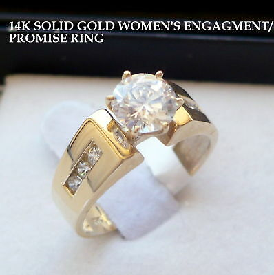 14K SOLID GOLD LADIES CZ ENGAGEMENT PROMISE RING size 7