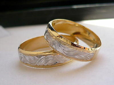 14K SOLID GOLD HIS & HER two tone WEDDING BAND RING SET 5-13 free engraving