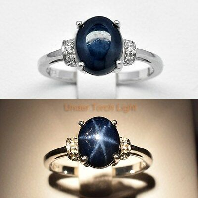 9x7mm Natural 6 Ray Blue Star-Sapphire Man Ring With Topaz in 925 Silver #28846