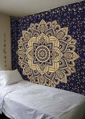 Gold Tapestry Wall Hanging Mandala Queen Hippie Bedspread Bohemian Decor Throw ]