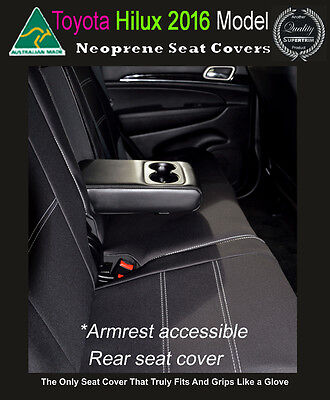 Toyota Hilux MY16 Premium Neoprene Waterproof REAR Seat Covers with Armrest Cut