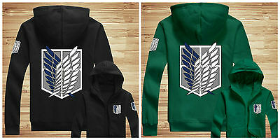 Attack on Titan Survey Legion Hoodie Zip Up Jumper Jacket Sweatshirt Cosplay