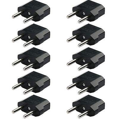 Black 5Pcs US/USA to European EU Travel Charger Adapter Plug Outlet Converter