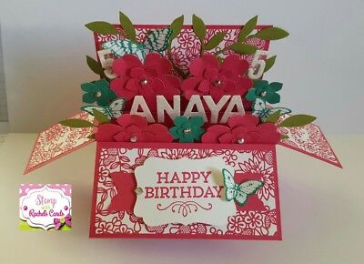 Handmade card, card in a box,Pink & emerald Floral Birthday card,PERSONALISED,