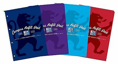 Oxford Campus New A4 Refill Writing Pad for Notes (Pack of 5 Assorted Colours)
