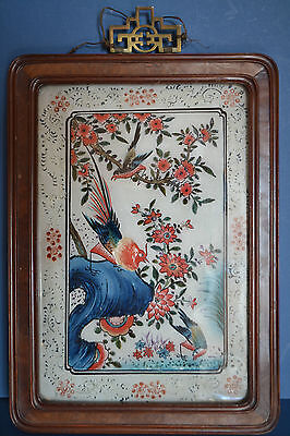 Antique 19th Century Chinese Bird And Floral Painting Under Glass,Rosewood Frame