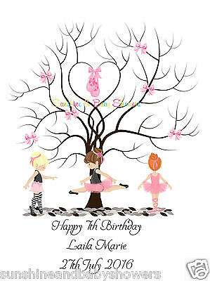 Finger Print Tree BALLERINAS BALLET Birthday PERSONALISED A3 OR A4 INC INK