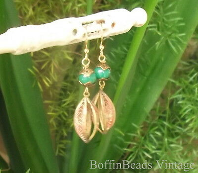Jade glass EARRINGS brass filigree PHYSALIS Chinese Lantern GP - gardener gift!