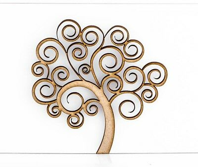 """2 x Wooden Mdf Family SWIRL Tree 25cm 4mm thick Detachable Stand 10/"""""""