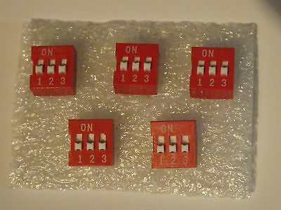Triple DIP Switch - Red - 6 Pin - Slide Type - 5 Pieces - UK Free P&P